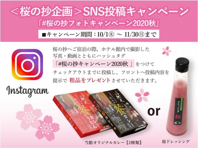 <桜の抄企画>SNS投稿キャンペーン ホテル滞在中の写真・動画投稿で粗品プレゼント!